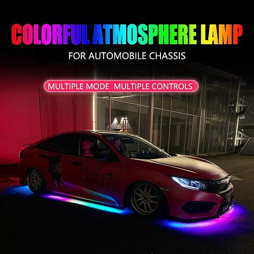 Niscarada RGB Multicolor Flexible Flowing Car LED Light Underglow Underbody Waterproof Automobile Chassi Neon Atmosphere Light