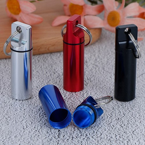 1pc Waterproof Aluminum Pill Box Medicine Case Container Bottle Holder Keychain Carabiner Outdoor Pill Case PillBox 4 Colors