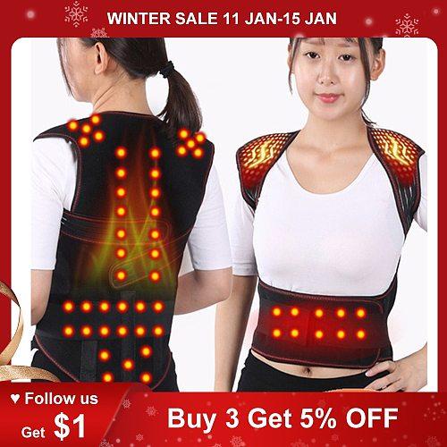 Magnetic Back Support Magnets Heating Therapy Vest Waist Brace Posture Corrector Spine Back Shoulder Lumbar Posture Correction