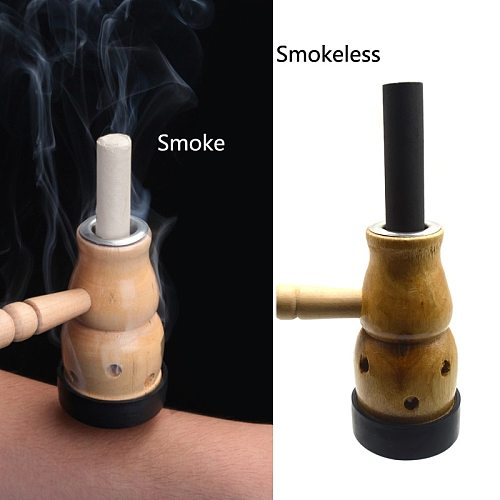SHARE HO Bamboo Gourd Moxibustion Box Heating Acupuncture Point Moxa Roll Holder Chinese Therapy Women Irregular menstruation