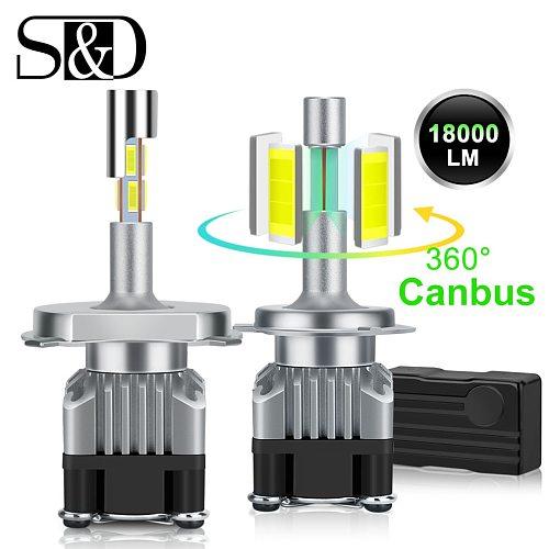 18000LM 4 Sides Canbus H7 LED Headlight H1 Turbo H4 9005 HB3 9006 HB4 LED H8 H11 Bulb 6500K Lamp 360 Degree Diode Auto Fog Light