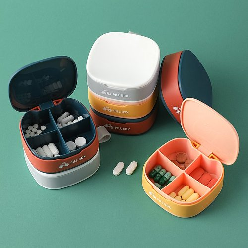 1 PCS Pill Case For Tablets 4 Gird Medicine Pill's Organizer Drug Capsule Plastic Storage Box Divider Weekly Travel Pill Cutter