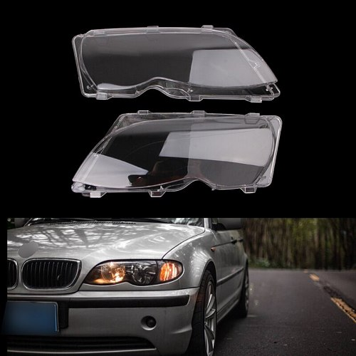 2 Pcs/Pair Headlight Lenses Replacement Left&Right Headlamp For BMW E46 4 DR