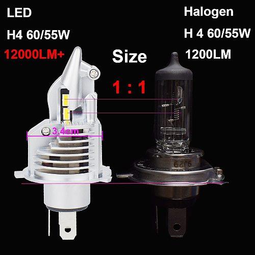 JALN7 H4 9003 LED Headlight Bulb HS1 HB2 12V 24V 60/55W Fighter H4 Led Bulb for Car Motorcycle Headlight CSP Chip 6500K 3000K