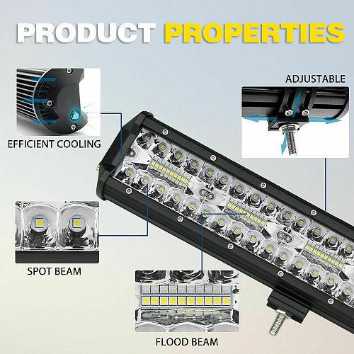 NLpearl 3-Row Combo LED Bar Offroad 4-20  Spot Flood 12V 24V LED Light Bar for Car Boat Truck Suv 4x4 Tractor Atv LED Work Light