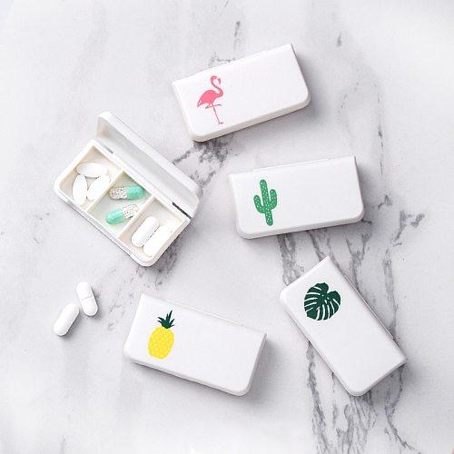 3 Lattices Pill Box Tablet Flamingo Cactus Leaf Pill Case  Dispenser Medicine Boxes Dispensing Medical Kit  Mini Organizer Case