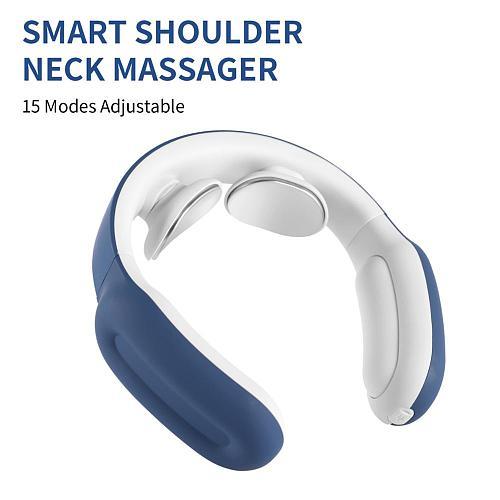 3 Colors Smart Shoulder Neck Massager PGG Hot Care Mute 15 Modes Adjustable Massaging Instrument Remote Control Neck Massager