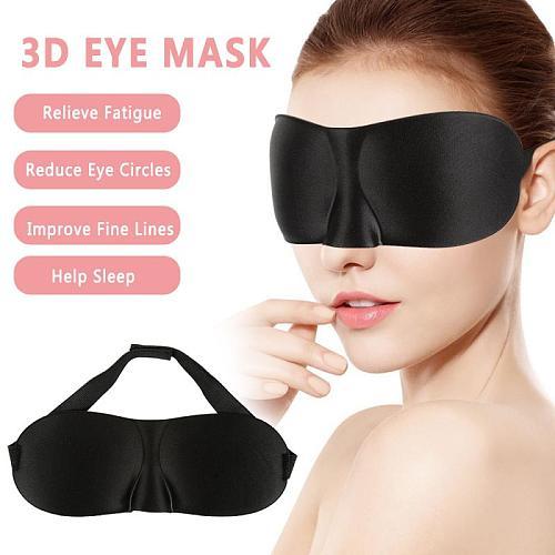 1PC 3D Eye Mask Soft Padded Sleeping Travel Shade Cover Sponge Rest Blindfold Portable Black Travel Eyepatch Men Women