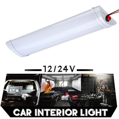 10W Car Interior Led Light Bar 72 LED White Light Tube with Switch for Van Lorry Truck RV for Camper Boat Indoor ceiling light