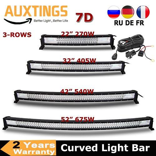 3-Row 22  32  42  52  Curved LED Light Bar Offroad Led Bar Combo Beam Led Work Light Bar 12v 24v For 4x4 4WD SUV ATV Cars