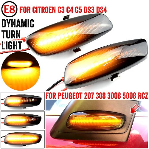 For Citroen C4 Picasso C3 C5 DS4 Peugeot 308 207 3008 5008 LED Car Dynamic Side Marker Signal Lamp Light Signal Light