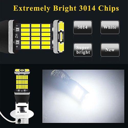 1PC LED Fog Light  H1 LED H3 LED 4014 Chips 45SMD High Power Headlight Lamps Bulb Lens DC 12V car bulb
