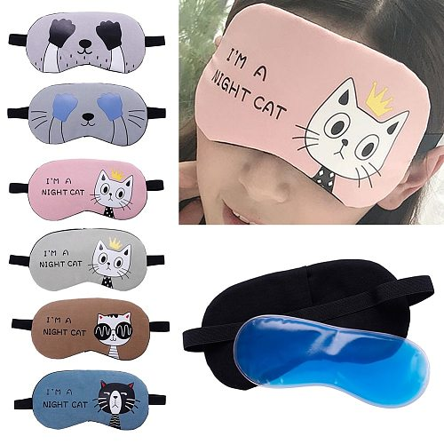 1pc Sleeping Eye Mask Soft Padded Sleep Travel Shade Cover with Ice Compress Gel Travel Rest Eye Shade Cover Blindfold #280205