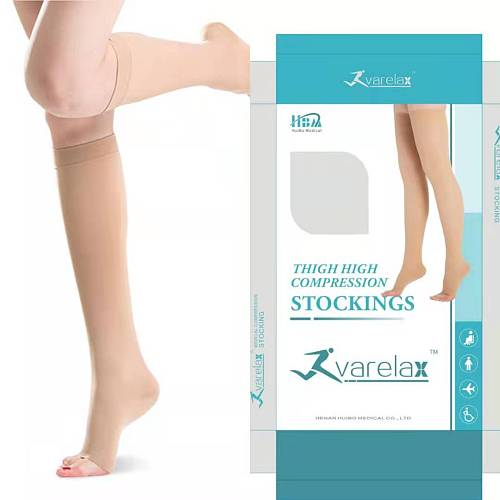 Medical Compression Stockings Relief Varicose Veins Sports Socks Improve Blood Circulation Open Toe High Knee Elastic Open