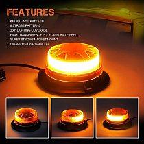 12V/24V High Intensity LED Beacon Magnet Mount Low Profile Compact Strobe Flashing Emergency Warning Light