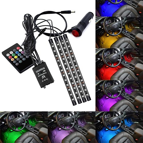 Car Foot Floor Decoration Bulbs Interior Atmosphere Light RGB LED Strip Lamp USB Wireless Remote Music Control Multiple Modes