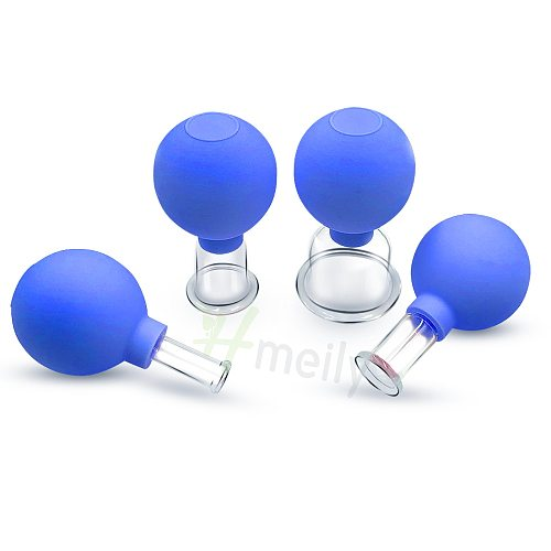 2/4Pcs Vacuum Cupping Glasses Massage Body Cups Rubber Head Anti Cellulite Massage Chinese Therapy Cupping Therapy Set