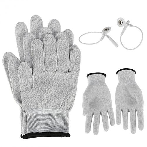 1 Pair Massage Electrode Gloves New Conductive Electrode Massage Therapy Gloves Therapy Hand Massager Electrotherapy Lead Wires