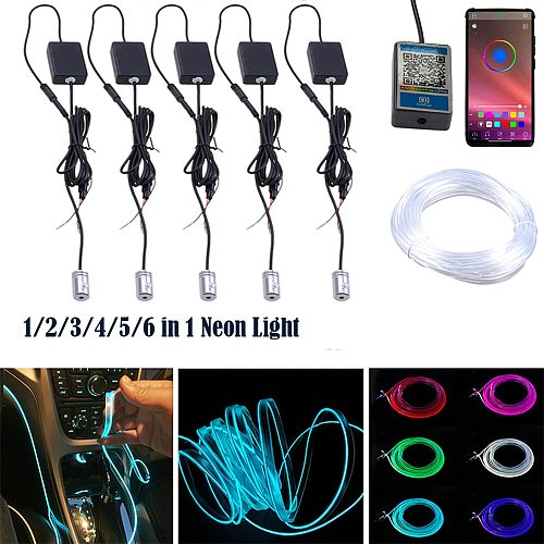 RGB Car Interior Optical Fiber Strip Ambient Light APP Bluetooth Control Atmosphere Lamp Wireless Standalone Connection Unit