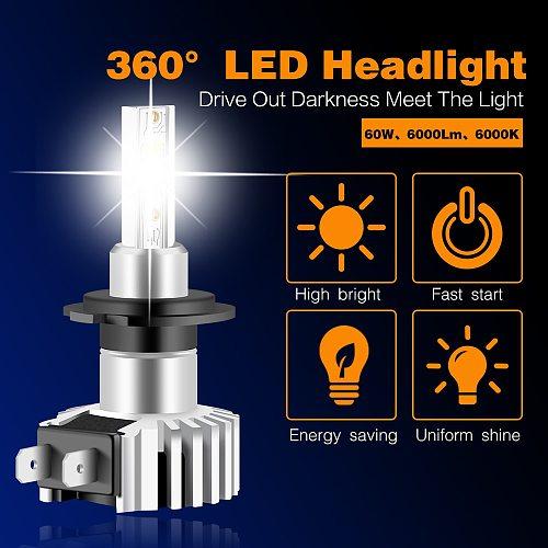 2 PCS H3 H1 LED Headlight Car Bulb H7 LED Lights H4 H8 H11 HB3 HB4 9012 6000K 60W 12-24V 12000LM High Low Beam Auto Headlamps