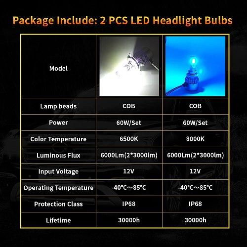 C6 2 Pcs Led H7 H4 Headlight Bulbs H1 H3 H8/9/11 9005/HB3 9006/HB4 9012 5202 H13 9007 9004 6500K 8000K LED Hi-Low Beam Car Lamps