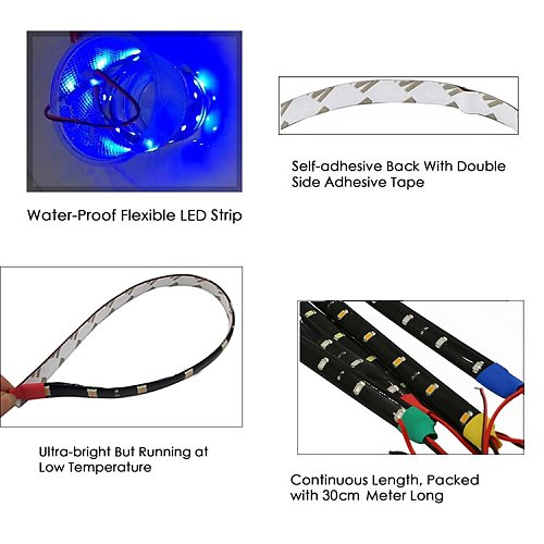 1PCS 30CM Car LED Strip Light Waterproof Flexible DRL Motorcycle Decor Red Green Blue White Yellow Pink Decor Stickers Lamp
