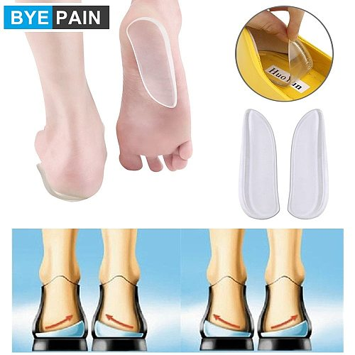 BYEPAIN Silicone Gel Insoles Heel Cushion Back Pad for Orthotic O/X Leg Calcaneal Pain Spur Orthopedic Heel Cup Shoes Inserts