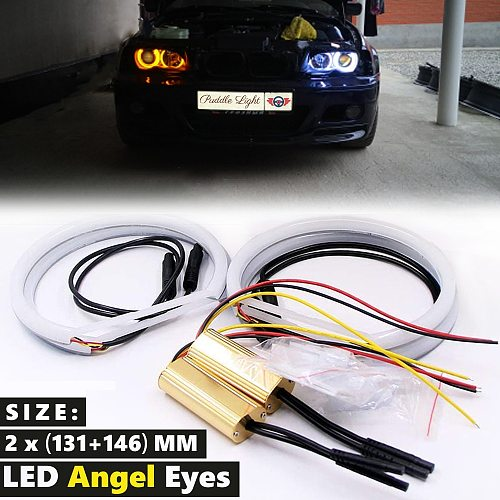 Car-styling Dual color White Yellow 2 x(131MM+146MM) LED Halo Rings Cotton Light For BMW E46 E90 E91 LED SMD Angel Eyes Lamps