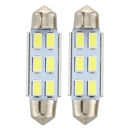 2 x 6 LED Festoon Lamp Bulb 5630 SMD White Light DC 12V 41mm Low consumption