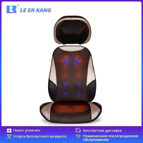 LEK 918C Upgraded Neck Massage Cushion Full Body Shiatsu Massage Chair Heating Vibration Kneading Roller Back Foot Massager