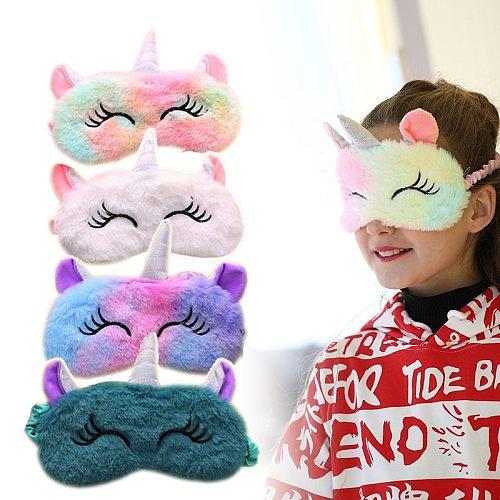 Children Unicorn Plush Eye Mask Colorful Fur Sleeping Eye Band For Women Winter Travel Cute Soft Animal Eye Cover Blindfold