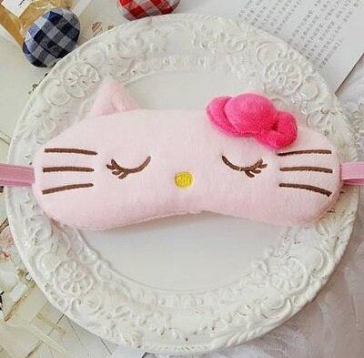 cartoon kitty Sleeping Mask For Eye Travel Relax Sleeping Aid Eye Patch Shading Eye Mask Eyepatch Eye Cover Cotton Eyeshade