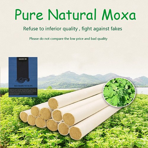 SHARE HO 50:1 Long Pure Moxa Stick Chinese Moxibustion Acupuncture Point Heating Therapy 10 years Old Gold Moxa Rolls 10pcs