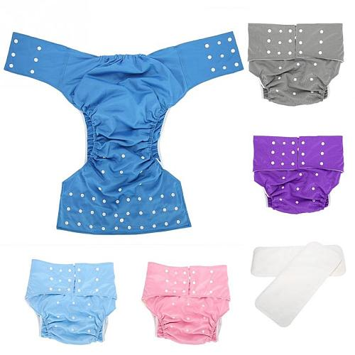 5 Colors Washable Adult Cloth Diaper Pocket Nappy Cover Adjustable Reusable Diaper Cloth Adult Pocket Nappy Waist Size 65-135cm