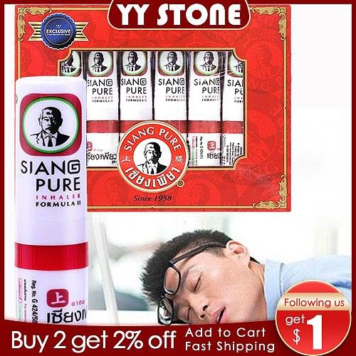 6pcs Thailand SIANG Mint Cylinder Nasal Inhaler Refresh Brain Anti Fatigue Cure Stuffy Nose Rhinitis Aspirator headache relief