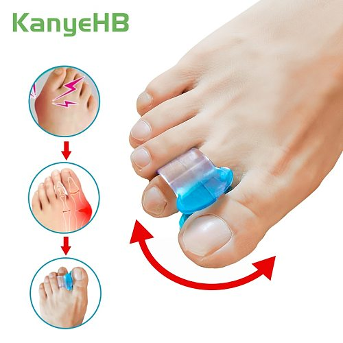 2pcs Blue Soft Silicone Gel Toe Separator Relief Hallux Valgus Pain Bunion Spacers Thumb Corrector Foot Massage Care Tool H075