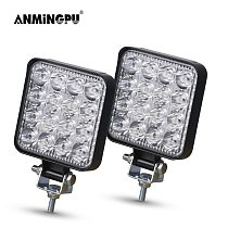 ANMINGPU Mini Offroad LED Bar 12V 24V Square LED Work Light for Car Truct Boat Atv 4x4 Tractor 42W 48W Spotlight LED Light Bar