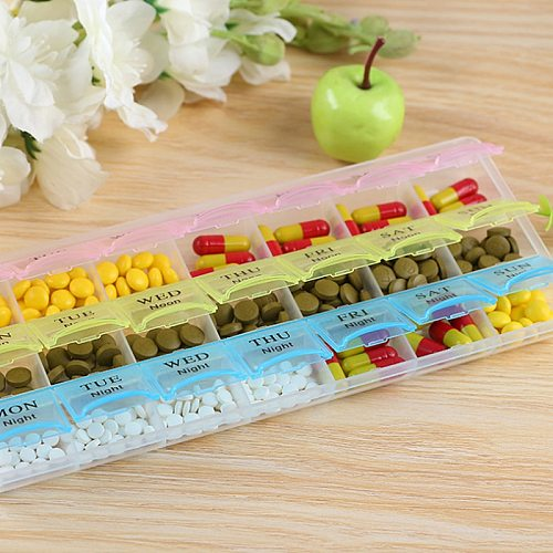 2Row(14Grids) / 3Rows(21Grids) 7 Days Weekly Pill Case Medicine Tablet Dispenser Carry Pill Box Splitters Pill Storage Supplies