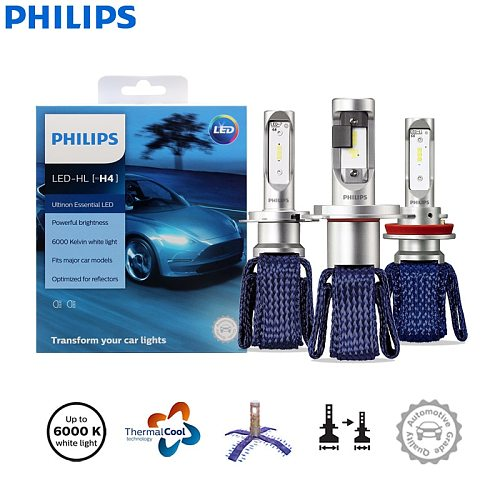 Philips Ultinon Essential LED H4 H7 H8 H11 H16 HB3 HB4 HIR2 9003 9005 9006 9012 12V UEX2 6000K Auto Headlight Fog Lamps (Twin)