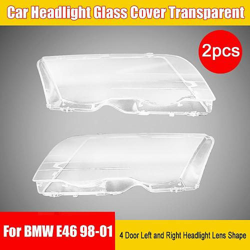 2 Pieces of Car Headlight Glass Cover Transparent 4 Door Left and Right Headlight Lens Shape for BMW E46 98-01
