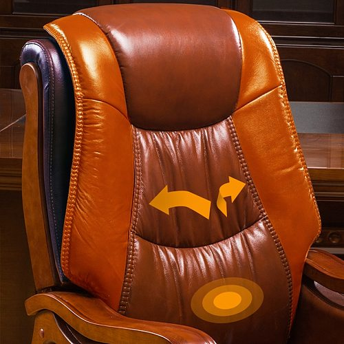 Europe & America Genuine Leather home solid wood swivel chair  office reclining executive chair computer mini massage chair