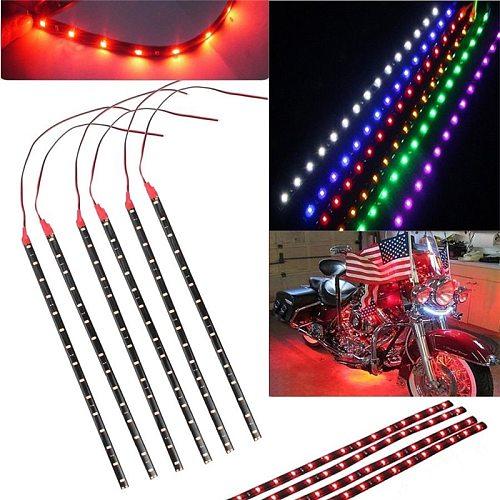 6Pcs/set Waterproof Multi Color DC12V Motor LED Strip Underbody Light For Car Motorcycle