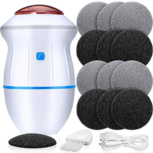 Portable Electric Vacuum Adsorption Foot Grinder Electronic Foot File Pedicure Tools Callus Remover Feet Care Sander with 12 Pcs