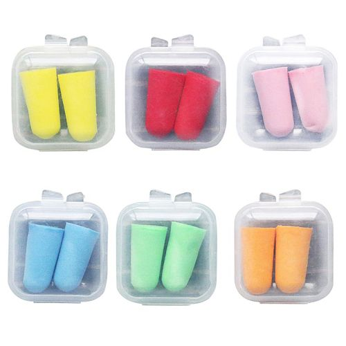 2Pcs/Pair Soft Foam Ear Plugs Tapered Travel Sleep Noise Cancelling Hearing Protection Sponge Candy Color Earbuds Reusable Porta