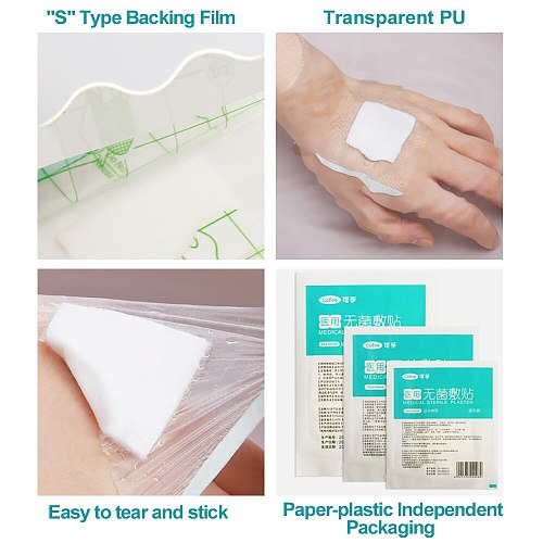 Cofoe 10/50pcs Non-woven Sterile dressing Medical Waterproof gauze Emergency wound dressing for Sterile wound care supplies