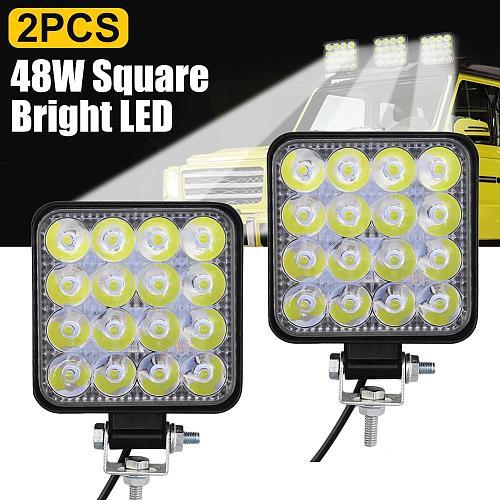 1/2Pcs LED Fog Lights Spotlight for Cars Waterproof LED 9V-30V 6000K Lamp Car SUV Truck Driving 48W Square Bright Work Light