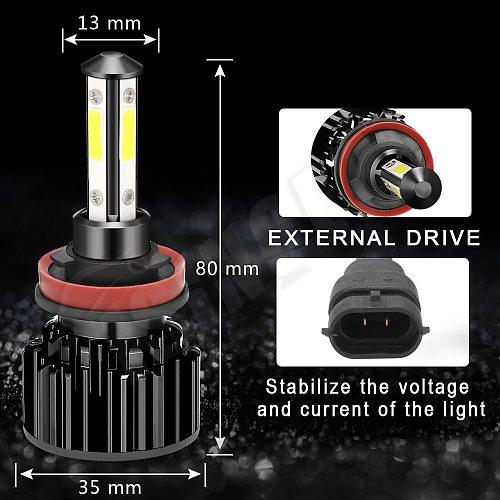 2pcs 100W 10000LM 4-Sides Car Headlight Bulbs Kit H4 Led H7 H8 H9 H11 H13 9005 HB3 9006 HB4 9007 Auto Light Bulb 6500k Fog Light