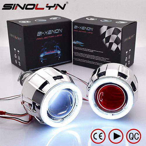 Sinolyn Angel Eyes LED Lights Headlight Lenses Car Lamps Bi Xenon Projector Lens 2.5 Devil DRL Tuning For H4 H7 Car Accessories
