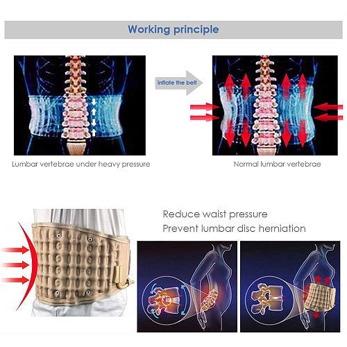 Decompression Lumbar Support Belt Waist Air Traction Brace Spinal Back Relief Belt Backach Pain Release Massager Unisex