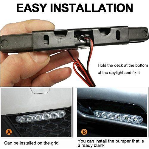 2Pcs 6 LEDs Car Daytime Running Lights Car-styling DRL Car Daytime Lamp Auto Fog Light Super Bright Waterproof DC 12V